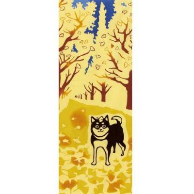 手ぬぐい 銀杏並木と柴犬